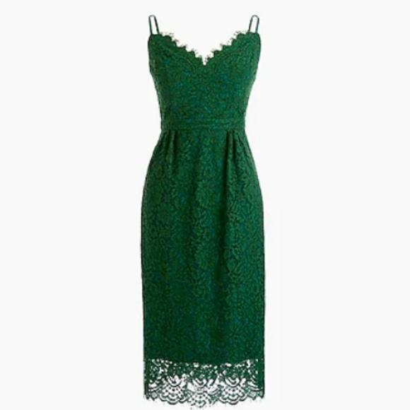 J. Crew Dresses & Skirts - Green J. Crew. spaghetti-strap lace dress, size 00